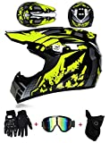 LZSH Casco de moto casco de motocross profesional, casco de cross, MTB, casco infantil, casco con gafas/guantes/máscara, ECE homologado adultos niños quad bike ATV go-kart-helm (B,XL: 61-62 cm)