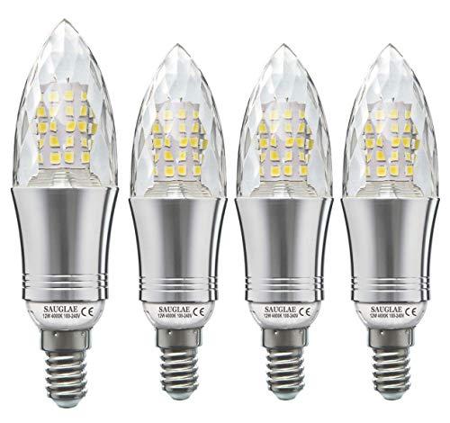 Sauglae E14 LED Bougie Ampoules 12W, 100W Équivalent Ampoules à Incandescence, 4000K Blanc Neutre, Non Dimmable, 1200LM, Petite Vis Edison, Lot de 4
