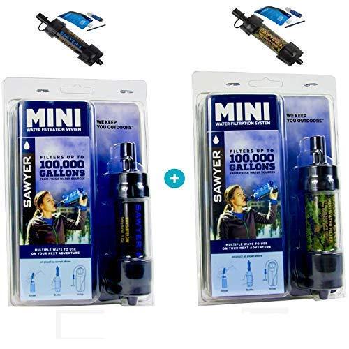 Original Sawyer Mini PointONE Wasserfilter Outdoor Camping Trekking Wasserfilter Wasseraufbereitung 2-er Set (Schwarz & Camouflage)