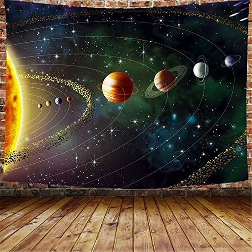 PuuuK Planetas Tapicería Exterior Espacio Exterior Galaxy Universo Impreso Tapices Mural Colgando Mural para Niños Dormitorio Sala Estar Dormitorio Decoración Hogar,150x130cm