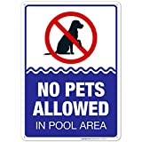 No Pets Allowed in Pool Area Sign, Pool Sign 10X14 Rust Free Aluminum, Weather/Fade Resistant, Easy Mounting, Indoor/Outdoor Use, Made in USA by Sigo Signs