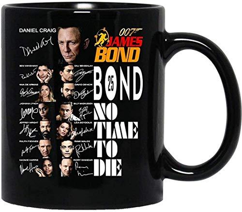 N\A # 007 Filme #James Bond Keine Zeit, kein Druckguss signiert Daniel-Craig Becher mit Griff, Wiederverwendbare Kaffeetasse aus isolierter Keramik, Kaffee-Reisebecher