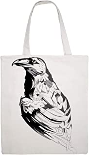 Great Martin Canvas Tote Bag Single Crow Sketch Stick Figure Birds Black And White Eco Friendly Reusable Grocery Gift Friend Shoulder Bag