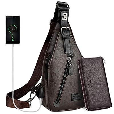Sling Backpack Men Leather Chest Bag Crossbody Shoulder Bag For Men?blue?