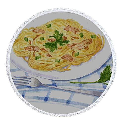 Olie Cam Runde Strandtuchdecke Spaghetti Carbonara Gemälde von Print