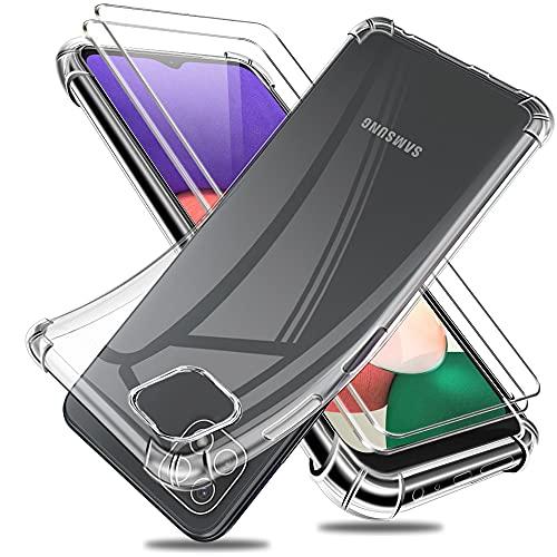 Reshias Funda para Samsung Galaxy A22 5G con Dos Cristal Templado Protector de Pantalla, Suave TPU Gel Silicona Anti-caída Protectora Carcasa Phone Case Cover (Transparente 6,6')