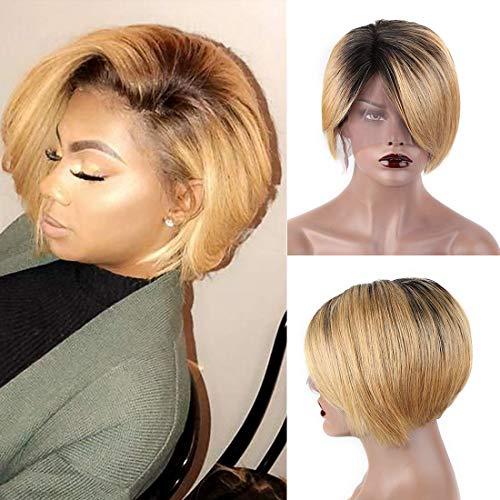 SINGLE BEST Short Pixie Cut Wigs T Lace Frontal Wigs Side Part Short Bob wigs for Black Woman Brazilian Virgin Human Hair Haircuts Natural Hairline (US.S.095#1B)