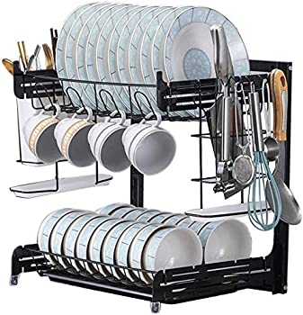 Yimer 2-Tier Dish Drying Rack with Drainboard Set