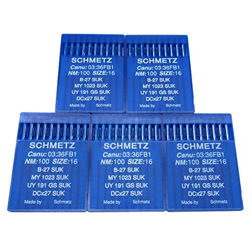 Schmetz Aguja - 50 agujas para máquina de coser industrial Schmetz B-27 DCX27 UY191GS (tamaño de aguja: 16/100)