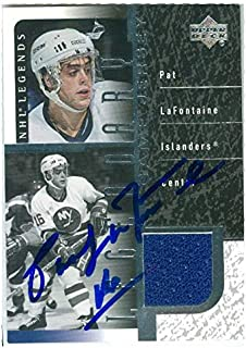 Pat LaFontaine autographed hockey card game worn jersey patch (New York Islanders SC) 2000 Upper Deck #JPL