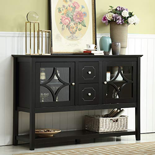 Mixcept 52' Stylish Sideboard Buffet Cabinet Wood Console Table Storage Cabinet with 2 Doors and 2 Drawers, Black