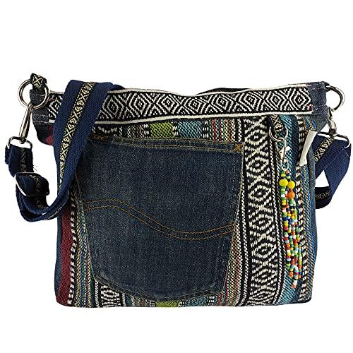 Sunsa Damen Taschen Umhängetasche Handtasche Canvas & Jeans. Große Boho Crossbody Tasche/bag Schultertasche, Geschenkideen für Frauen/Mädchen nachhaltige Produkte 52373