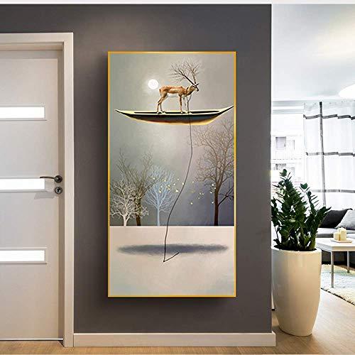 yhyxll Modulare Bilder Zebra Deer Pferd In Boot Leinwand Malerei für Wohnzimmer Wandkunst Leinwand Tier Bild Dekoration A 50x 100cm