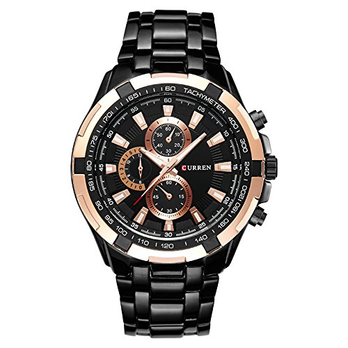 Mens Business Casual Elegant Sports Watch with Stainless Steel Band