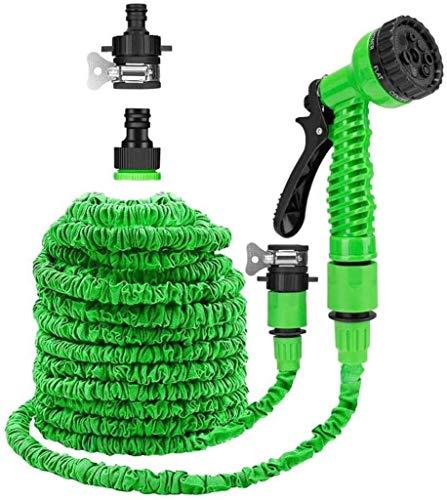 50 pies de manguera de jardín con 7 en 1 pistola de pulverización rápida Conector ampliable fuerte magia de la manguera del tubo por un coche y mascotas Lavadora / riego del césped jardinería, verde 5