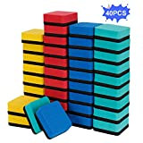 40 Pack Dry Erase Erasers, Magnetic Whiteboard Eraser (1.97 x 1.97 Inches, Blue)...