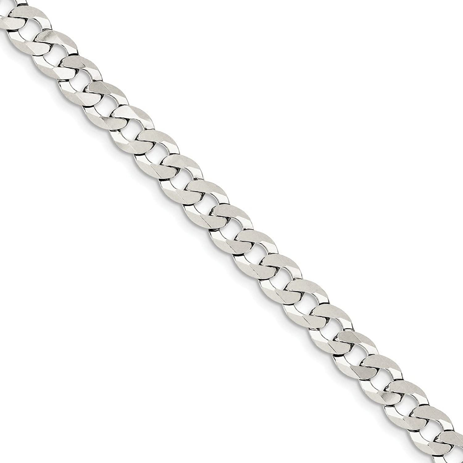 Beautiful Sterling silver 925 sterling Sterling Silver 6.8mm Close Link Flat Curb Chain