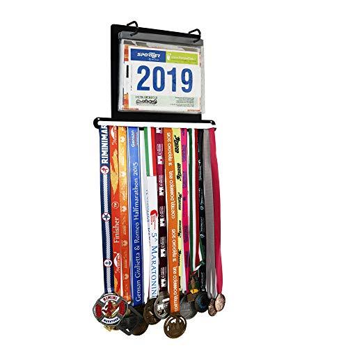 NITTEB Espositore Numero Pettorale Gara Porta Medaglie Numero da Parete Muro | Medal Display | Pettorali Gare Triathlon Marathon Running Equitazione Ciclismo Duathlon medagliere Finisher Regalo