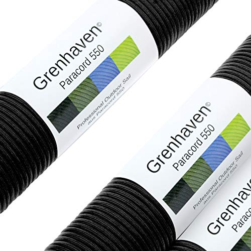 Grenhaven Paracord Seil Schwarz Fallschirmschnur Universell einsetzbares Survival-Seil mit 7 Strängen 30m 550lbs 100ft aus reißfestem