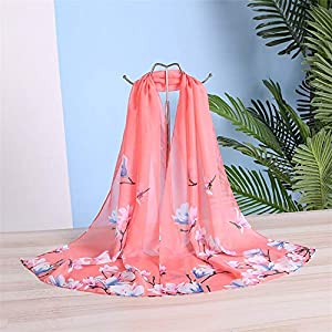 New Chiffon Scarf Women Spring Summer Silk Scarves Thin Flower Shawls and Wraps Print Stoles