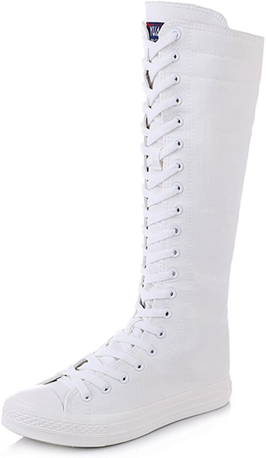 Stay real Women Fashion Canvas Dance Boots Knee High Boots Girls Tall Punk shoes