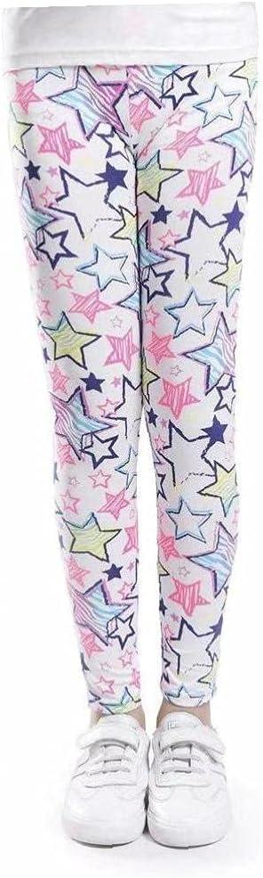 NIDONE Girls Leggings Cartoon Printed Yoga Pants Breathable Sports Tights for 6-7t Kids White