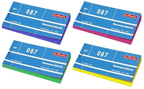 Herlitz Nummernblöcke 1-1000 Nummer 1-1000 40x100 Abrisse | 4000 Sortiert in 4 Farben