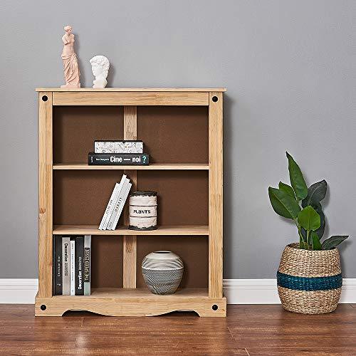 Estantería de madera de densidad media y madera de pino maciza, 3 estantes, para salón, oficina, 94 x 29 x 100 cm, madera