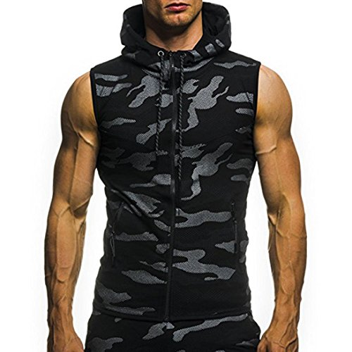 Men's T-Shirt Summer Casual Tops Camouflage Print Hooded Sleeveless Vest