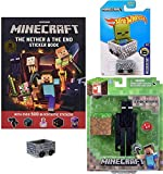 Hot Wheels Nether Minecart Compatible with Minecraft Bundled with Figure Enderman Overworld + Sticker Book 3 Items Gamer Gear