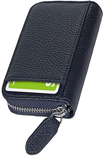 [NEESE] クレジットカードケース カード入れ スキミング防止 じゃばら 大容量 コインケース メンズ レディース (ネイビー)