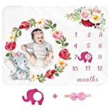 Baby Monthly Milestone Blanket Girl - Newborn Month Blanket Personalized Shower Gift Soft Fleece Photography Background Photo Prop Floral Elephant Blanket with Frame Headband Large 51''x40''