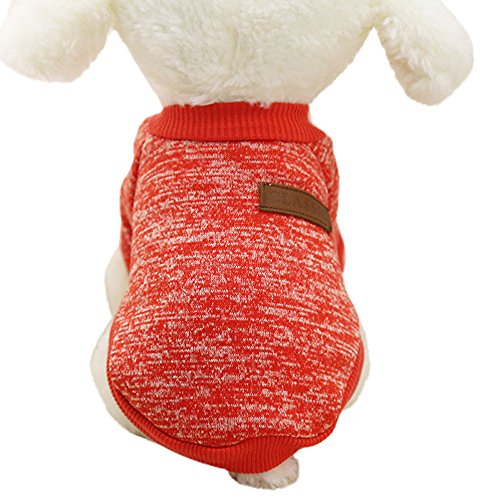 Mikey Store Pet Dog Clothes Soft Thickening Warm Stripe Polar Fleece Winter Clothes (Red, M)