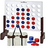 Giant 4 in A Row – Win SPORTS Premium Wooden Four Connect Board Game Set in White,Ideal Family Game for Kids &Adults,Outdoor Indoor Game for Backyard,Lawn,Parties,Bar Game (2 FT)