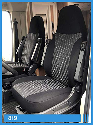 Maß Sitzbezüge kompatibel mit Wohnmobil Fahrer & Beifahrer Farbnummer: 819 (schwarz grau)