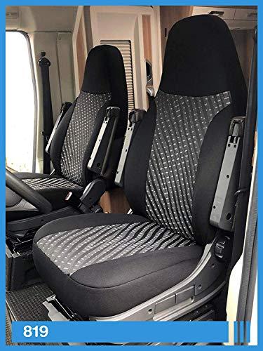 Maß Sitzbezüge kompatibel mit Wohnmobil Fahrer & Beifahrer FB:819 (schwarz & grau)
