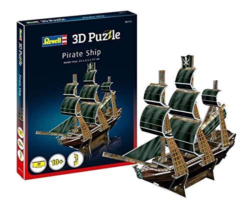 Revell 3D Puzzle 00115 Piratenschiff, Segelschiff mit der Totenkopfflagge Die Welt in 3D entdecken, Bastelspass für Jung und Alt, farbig