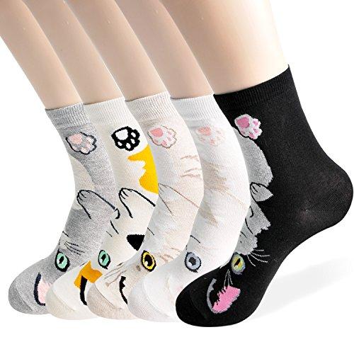 Ksocks - Juego de regalo para gatos, diseño creativo, diseño de gato y animales casuales, colores para mujer