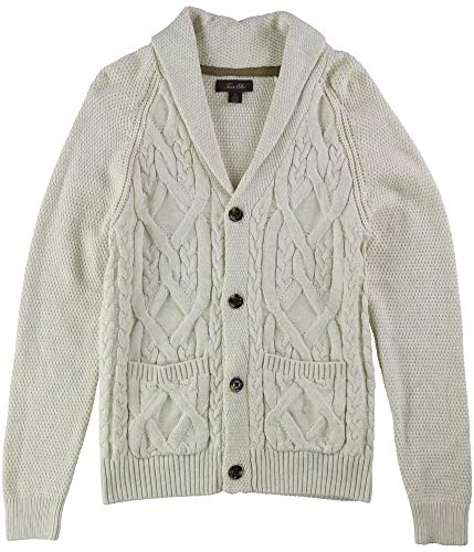 Tasso Elba Mens Crossed Cable-Knit Cardigan Sweater, Off-White, Small