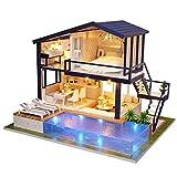 Regalo de Verano Miniatura de Madera, Material de Madera de Calidad fácil de Montar Casa de muñecas de Montaje, Sala de Estar de Madera para el hogar(Time Apartment)