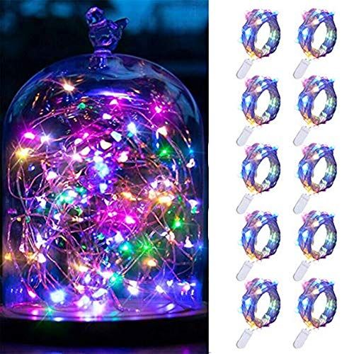FANSIR LED Fairy String Lights, 10 Pack 20 LED Copper Wire Lights Waterproof Micro Firefly Starry Light Bottle Light for Bedroom Wedding Party Xmas Decorations (Screwdriver + Extra 6 Battery)