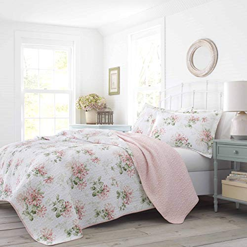 Laura Ashley Home | Honeysuckle Collection | Luxury Premium Ultra Soft Quilt Coverlet, Comfortable 3 Piece Bedding Set, All Season Stylish Bedspread, Full/Queen, Blush