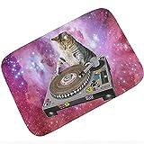 Felpudo interior Galaxy DJ Cat Tuna Scratch Tocadiscos DJ Cats Kitten Door Mat Space Cat Alfombra para mascotas Alfombra Felpudo Alfombrillas de goma antideslizantes para la entrada del piso-60X90CM