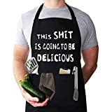 Funny Apron for Men, Chef Bib Apron with 2 Pockets, Adjustable Neck Strap and 40' Long Ties – Perfect for Kitchen Cooking, BBQ, Baking, Gifts for Husband, Dad, Wife, Mom,