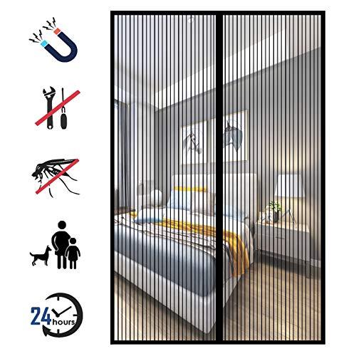Magnet Fliegengitter Tür, Insektenschutz Magnetvorhang Automatisch Verschließen ohne Bohren, für Balkontür, Kellertür und Terrassentür-Black-A|| 90x255cm(35x100inch)