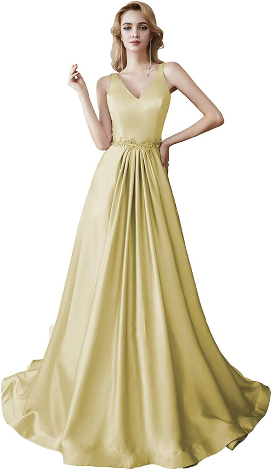 Clothfun Women's Long V Neck Beaded Prom Dresses Satin Simple A Line Formal Evening Party Gowns PM25