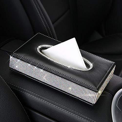 Caja de pañuelos de diamante de cristal antideslizante para coche con soporte para servilletas, cajas de papel para el hogar de cuero duradero para decoración de escritorio