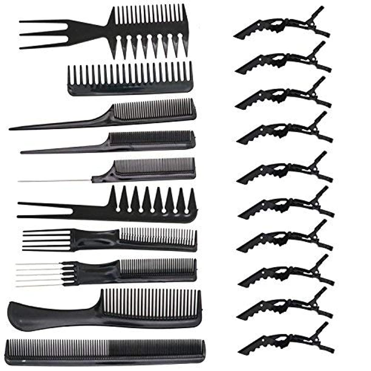 メキシコポスト印象派座標HUELE 10 Pcs Professional Hair Styling Comb with Styling Clips Hair Salon Styling Barbers Set Kit [並行輸入品]