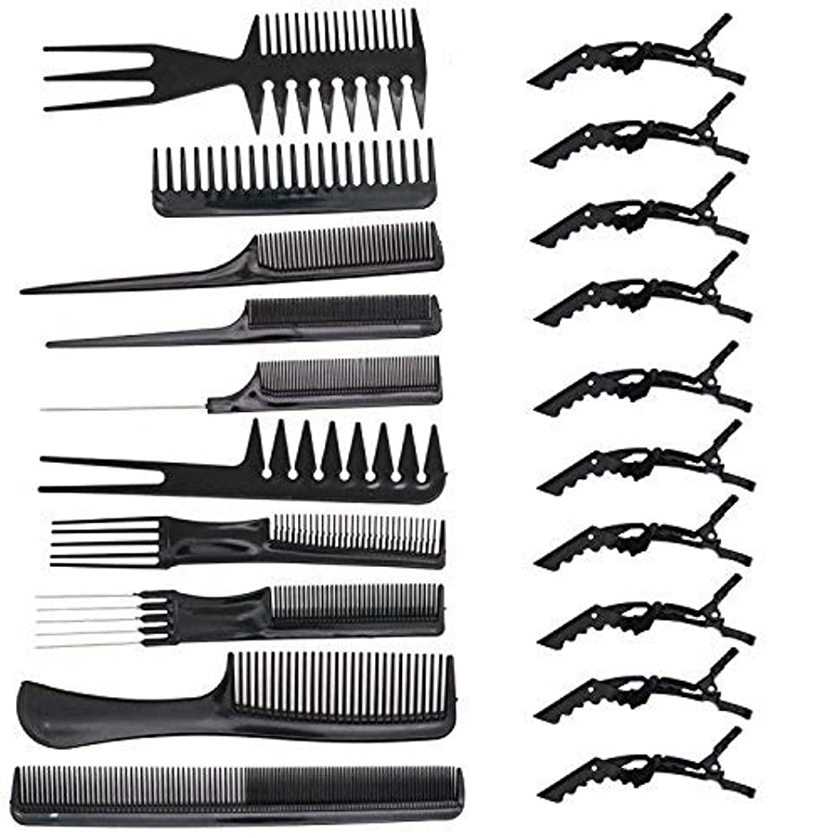提案幻滅する充電HUELE 10 Pcs Professional Hair Styling Comb with Styling Clips Hair Salon Styling Barbers Set Kit [並行輸入品]