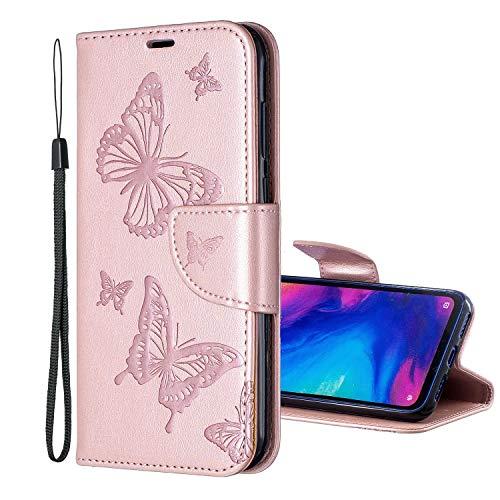 Nadoli Wallet Coque pour Galaxy S9 Plus,PU Cuir Fermeture Magnétique Fonction de Support Papillon en Relief Modèle Portefeuille Couverture Housse Étui avec Dragonne pour Samsung Galaxy S9 Plus